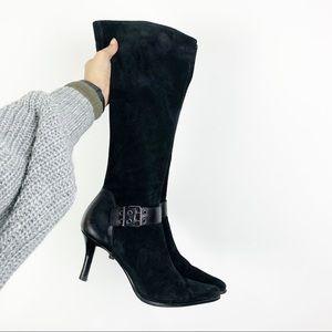 Franco Sarto Black Suede Heeled Boots Size 8